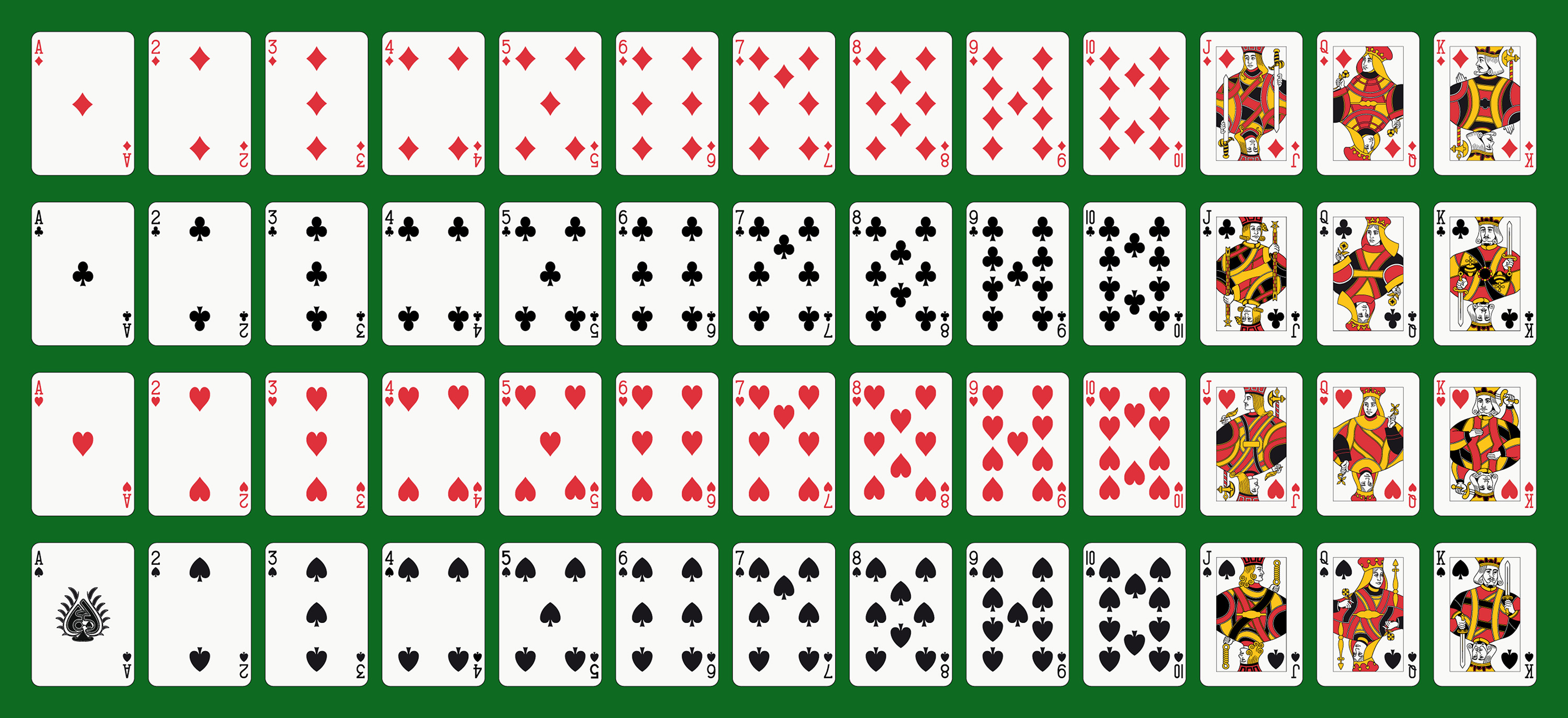 Standard deck of 52 playing cards.